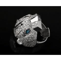 Стильное кольцо с бриллиантами и сапфирами