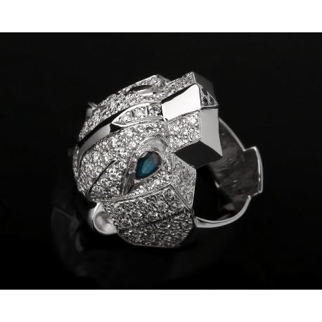 Стильное золотое кольцо с бриллиантами и сапфирами Артикул: 260916/18