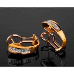 Элегантные золотые серьги с бриллиантами 0.75ct