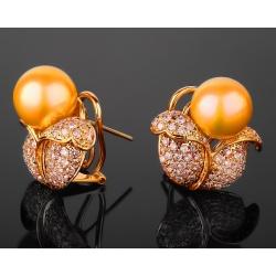 Жемчужные золотые серьги с бриллиантами 1.85ct