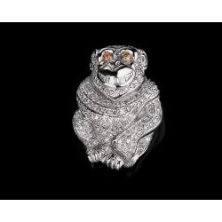 Золотая подвеска обезьянка с бриллиантами 0.74ct