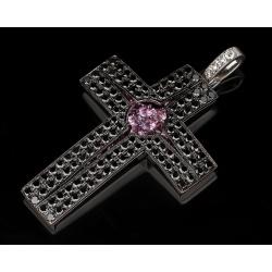 Большой крест с черными и белыми бриллиантами