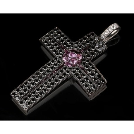 Большой крест с черными и белыми бриллиантами Артикул: 050316/2