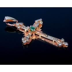 Шикарный золотой крест с изумрудом и бриллиантами