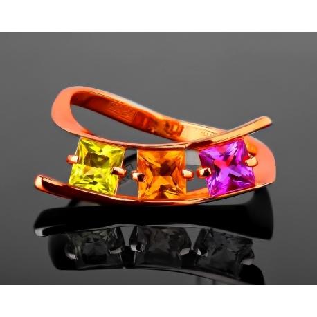 Золотое кольцо с яркими цветными камнями Артикул: 190617/2
