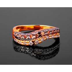 Золотое кольцо с коньячными бриллиантами 0.15ct