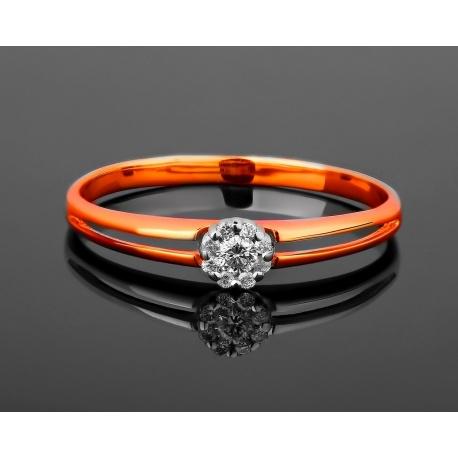 Золотое кольцо с бриллиантами 0.06ct Артикул: 250517/4