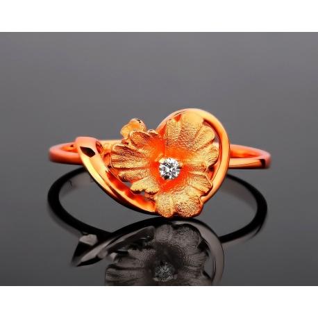 """Матовое золотое кольцо """"цветочек"""" с бриллиантом Артикул: 210317/52"""