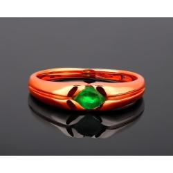 Золотое кольцо с природным изумрудом 0.40ct