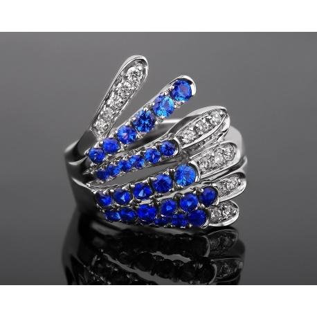 Alfierti&st.john бриллиантовое кольцо с сапфирами Артикул: 300917/3
