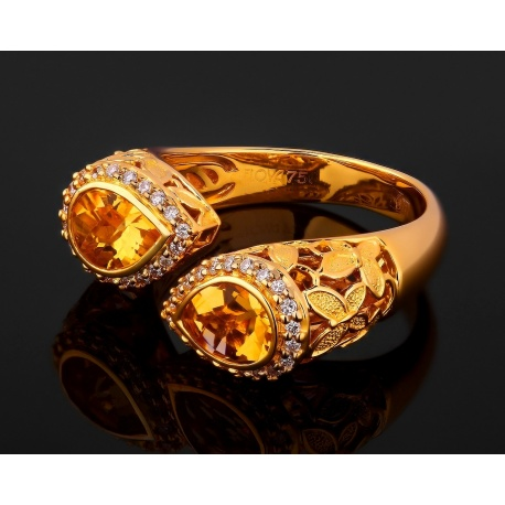 Бриллиантовое кольцо с цитринами floya Артикул: 071017/1