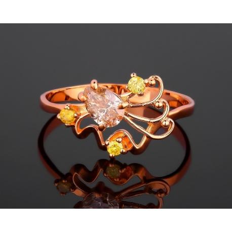 Интересное золотое кольцо с бриллиантами 0.57ct