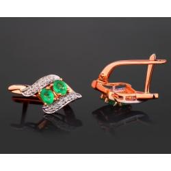 Бриллиантовые серьги с изумрудами