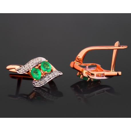 Золотые серьги с бриллиантами и изумрудами 0.46ct Артикул: 290917/4