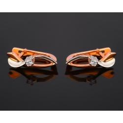 Золотые серьги с бриллиантами 0.17ct