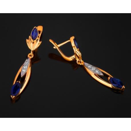 Модные золотые серьги с бриллиантами и сапфирами Артикул: 130717/9