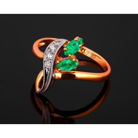 Золотое кольцо с бриллиантами и изумрудами 0.35ct Артикул: 280517/15