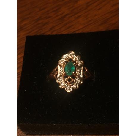 Кольцо с изумрудом и бриллиантами (Лот LV 2155)