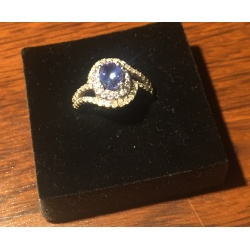 Кольцо с бриллиантами и танзалитами( Лот LV 2159)