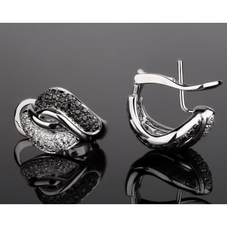 Leo Pizzo стильные золотые серьги с бриллиантами Артикул: 061217/2