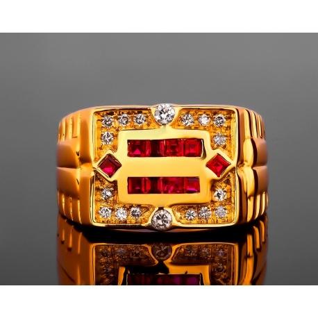 Золотое кольцо-печатка с рубинами и бриллиантами Артикул: 220417/1