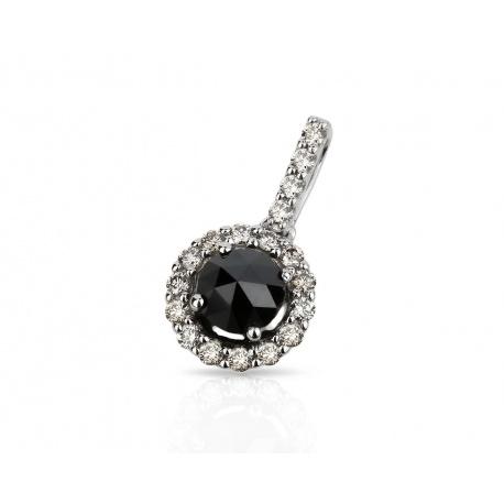 Золотой кулон с черным и белыми бриллиантами Артикул: 080218/1