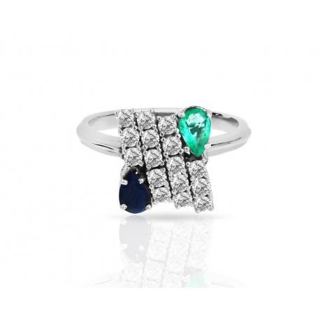 Золотое кольцо с бриллиантами, изумрудом и сапфиром Артикул: 240218/10
