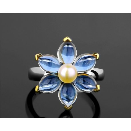Элегантное золотое кольцо с жемчугом и топазами Mimi Артикул: 230318/17