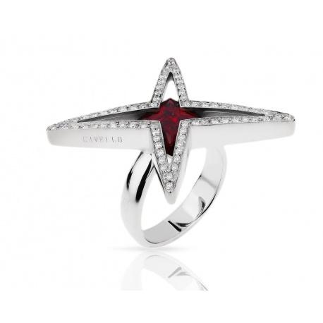 Золотое кольцо с бриллиантами 0.44ct и гранатом Gavello