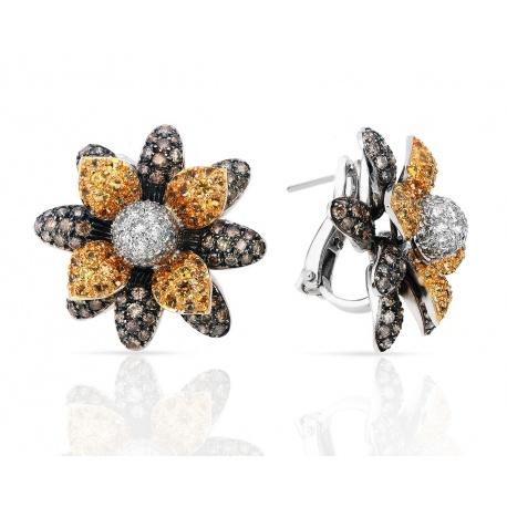 Шикарные золотые серьги с бриллиантами 4.15ct