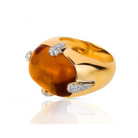 Золотое кольцо с медовым цитрином и бриллиантами