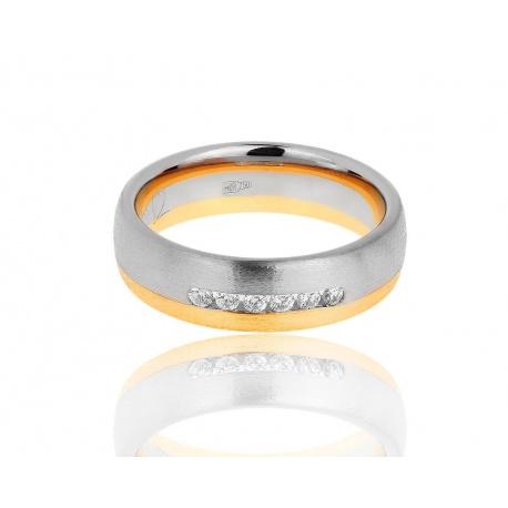 Матовое золотое кольцо с бриллиантами 0.15ct