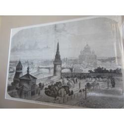 """Гравюра антикварная """"Вид Москвы"""". 1867 г."""