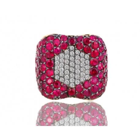 Кольцо с бриллиантами и рубинами Gellini