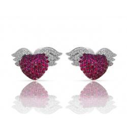 Золотые серьги с бриллиантами и рубинами Theo Fennell