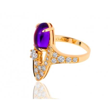 Золотое кольцо с аметистом и бриллиантами Bvlgari