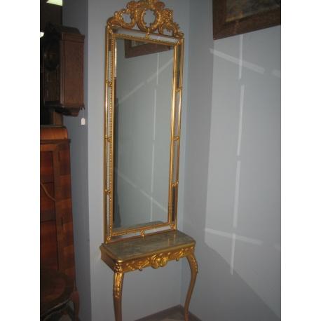 Зеркало с консолью и позолотой
