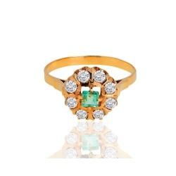 Кольцо с бериллом и бриллиантами