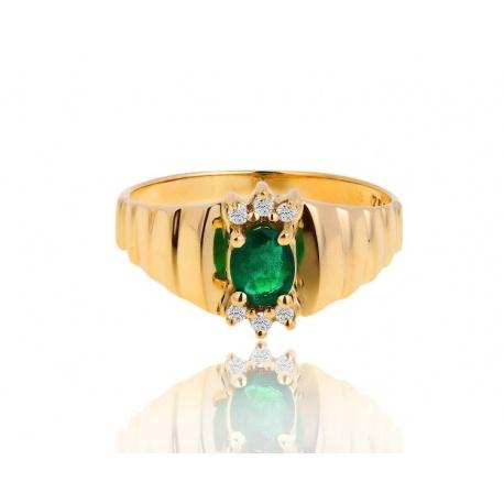 Кольцо с бриллиантами и изумрудом 0.30ct H.Stern
