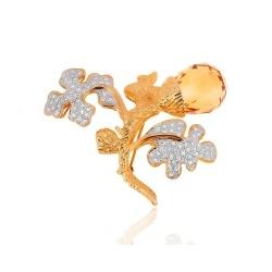 Золотая брошь с цитрином и бриллиантами