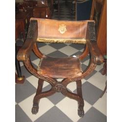 Кресло курульное с кожей