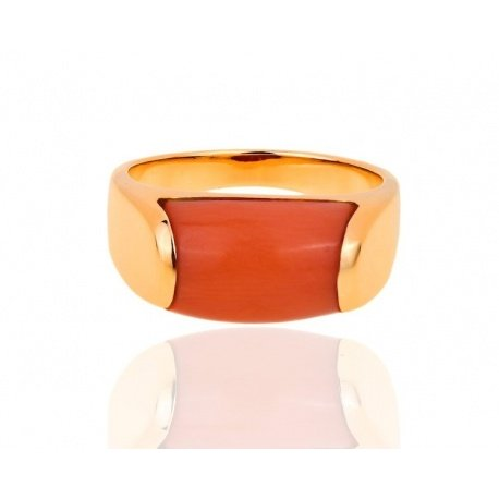 Превосходное кольцо с кораллом Bvlgari Tronchetto