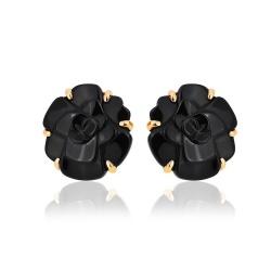 Элегантные серьги с ониксом Chanel Camellia
