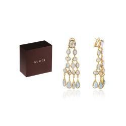 Модные золотые серьги с топазами Gucci