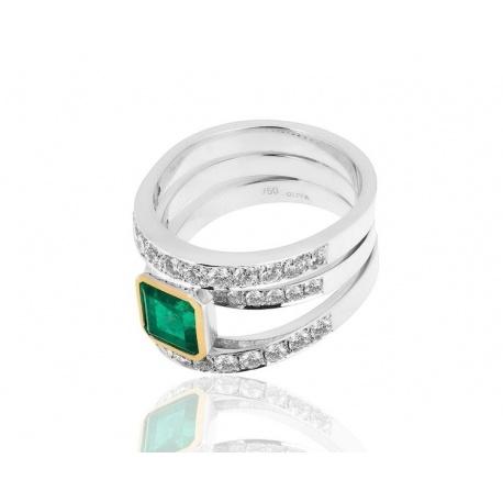 Кольцо с изумрудами 1.65ct и бриллиантами