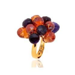 Итальянское кольцо с цветными камнями Arezzini