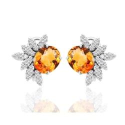 Серьги с медовыми цитринами и бриллиантами 2.05ct