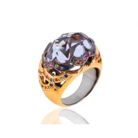 Необычное кольцо с кварцем и сапфирами