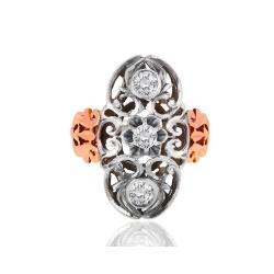 Узорное золотое кольцо с бриллиантами 0.61ct
