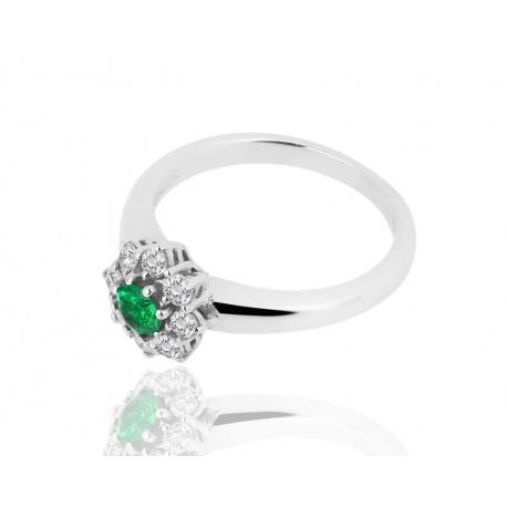 Кольцо с бриллиантами и изумрудом 0.21ct